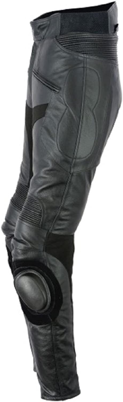 RKsports 1089 Motorbike Mens Cowhide Leather Black Trousers Regular Leg 31//32