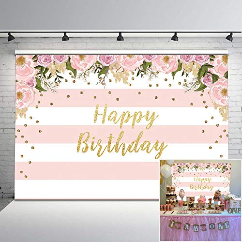 Mocsicka Pink Floral Birthday Backdrop Watercolor Floral Glitter Dots Birthday Party Background Vinyl 7x5ft Pink and White Stripes Photo Backdrops Birthday Party Decorations -