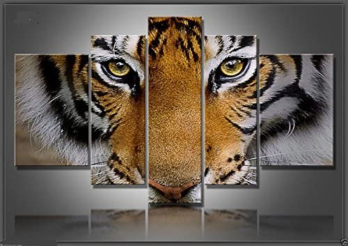 Real Hand Painted Black White Art Tiger 5 Pieces Canvas Oil Painting