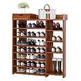 Havanadd-Home Bamboo Shoe Organizer Shoe Rack, 7-Tier Shoe Organizer Shelf Storage Cabinet Towers Holds 25 Pairs (Color : Ancient ebony color, Size : 80 * 24 * 113cm)