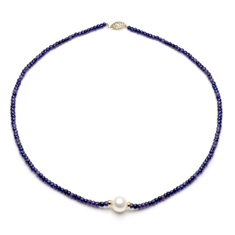 14k Yellow Gold 4mm Simulated Blue Sapphire 9-9.5mm White Freshwater Cultured Pearl Necklace, 18''