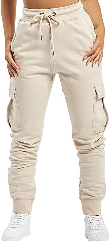 Puimentiua Femme Pantalon Cargo Sport Jogging Stretch Pantalon de Surv/êtement Taille Haute avec Poches Lat/érales Grande Capacit/é