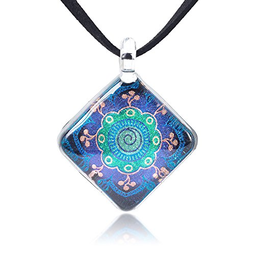 Chuvora Hand Blown Glass Jewelry Magic Mandala Symbol Square Pendant Necklace, 17-19 inches