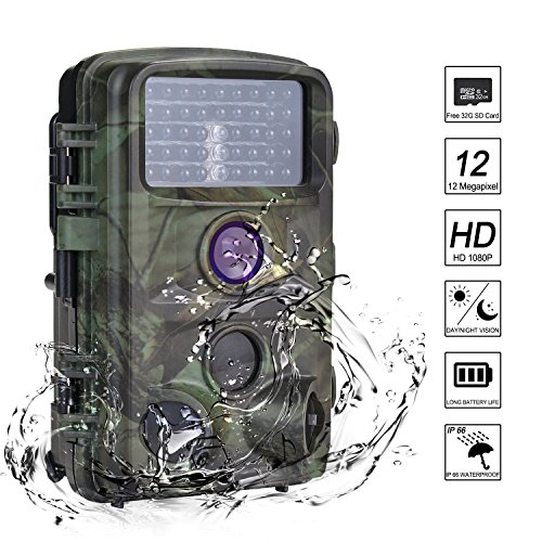MYPIN Trail Camera, 1080P 12MP Trail Game Hunting Camera wit