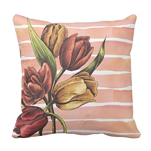 UOOPOO Black White Marble Rose Gold Floral Color Block Throw Pillow Case Square 16 x 16 Inches Soft Cotton Canvas Home Decorative Wedding Cushion Cover for Sofa and Bed One Side