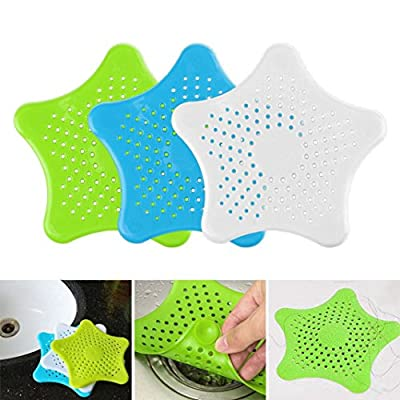 LiPing 6.1in Silicone Star Bathroom Drain Hair Catcher Bath Stopper Plug Sink Strainer Filter Shower
