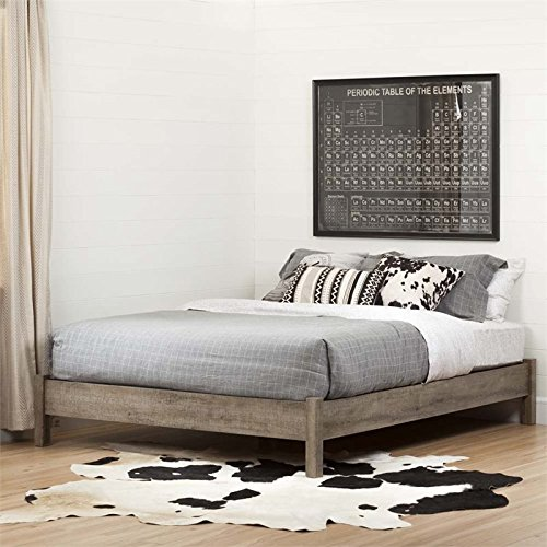 South Shore Munich Platform Bed 60'' on Legs Weathered Oak, Queen (Weathered Finish Furniture)