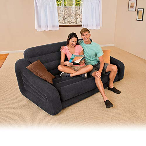 Deluxe Futon - Intex Inflatable Queen Size Pull-Out Futon Sofa Couch Bed + Deluxe Queen Air Bed