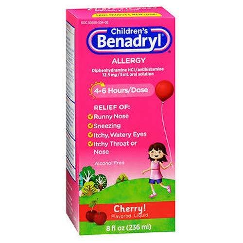 Children's Benadryl Allergy Liquid Cherry 8 oz (Pack of 3)
