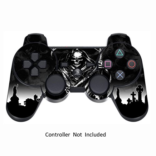Skin Stickers for Playstation 3 Controller - Vinyl Leather Texture Sticker for DualShock 3 Wireless Game Sixaxis Controllers - Protectors Controller Decal - Reaper Black [ Controller Not Included - Game Ps3 Black