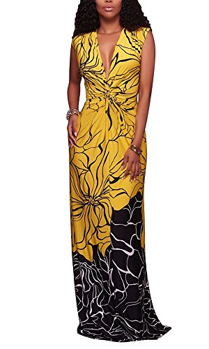 Summer Women Sleeveless V Neck African Floral Print Long Maxi Evening Bodycon Dress (Yellow Dresses For Women Evening)