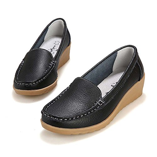 Wedge Anti Slip On Round T Casual Slip Comfortable JULY Toe for Low Loafers Women Shoes Penny Black YxSwqORwv
