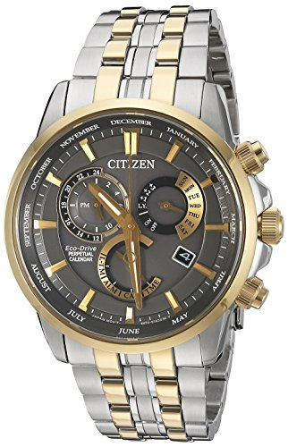 Citizen-Eco-Drive-Mens-Perpetual-Calendar-Quartz-Stainless-Steel-Casual-Watch-Color-Two-Toned-Model-BL8144-54H