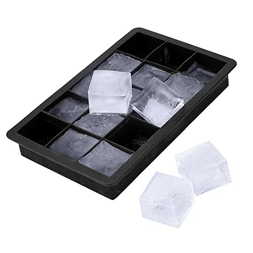 QOCOO 2 Pack Reusable FDA Standard BPA Free Food Grade Soft Silicone Ice Cube Tray Block Molds Maker, 30 ×1.3 in Perfect Size for Home or Bar Freeze Whiskey Juices Chocolate Sauces Baby Food Black -