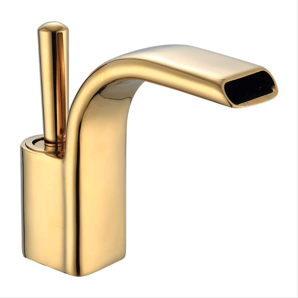 Baño frío y caliente, todo el cobre. dorado,Grifo de Lavabo Cascada Grifo para Baño Monomando Grifería Cromado Plateado con de Agua Inoxidable Larga Durabilidad
