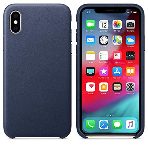 (Starred Original Design Leather Case for Apple iPhone Xs Slim Protective Cover [Ultra Thin & Lightweight] (Midnight Blue))