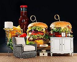 BZDHWWH Comida Rápida Hamburguesa Verduras Comida Papel Tapiz 3D ...