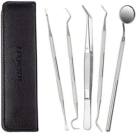 FIXBODY Dental Tools, 5 Pcs Stainless Steel Hygienist Kit for Personal Use Teeth Cleaning, Oral Care Set Remove Tartar Plaque with Tweezers, Mouth Mirror, Dental Probe, Tartar Scraper, Sickle Scaler