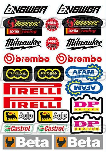 Kungfu Graphics Pirelli/AKRAPOVIC Exhaust/Beta/Dirtbike Sponsor Logo Racing Sticker Sheet Universal (7.2 x 10.2 - Frame Race Number