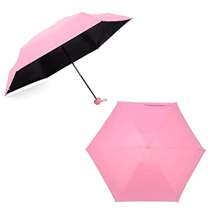 Decdeal - Mini Paraguas de Bolsillo para Sol y Lluvia, 5-Plegable, Ultraligero