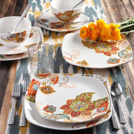 16-Piece Floral Spray Square Dinnerware Set, Multi-Color