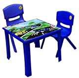 Strong Kids children Table and Chairs set for Study Garden Indoor outdoor Home and Nursery (Blue, Table + 2 Chairs)