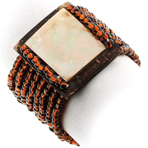 Mother of Pearl Coconut Shell Bronze Beads Bracelet YE-2554 (Mother Of Pearl Shell Bronze)