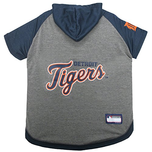 MLB Hoodie for Dogs & Cats - Detroit Tigers Dog Hooded T-Shirt, Small. - MLB Team Color Hoody