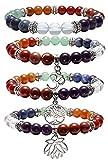 Top Plaza 7 Chakra Healing Balance Energy Crystal Gemstone Beads Bracelets Set, 8MM Beads (Pack of 4#2)