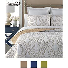 Reversible 100% Cotton 3-Piece Beige Embroidery Pattern Elegant Quilt Set with Embroidered Decorative Shams Soft Bedspread&Coverlet Set-King by mixinni