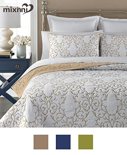 Reversible 100% Cotton 3-Piece Beige Embroidery Pattern Elegant Quilt Set with Embroidered Decorative Shams Soft Bedspread&Coverlet Set-Full/Queen by (Embroidered Duvet)