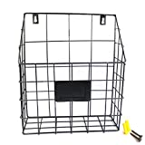 Wall File Holder Metal Mesh Wire Shelf Rack Hanging Folder Office School Magazine Mail Document Books Organizer Storage Black Rustic Industrial Design Black
