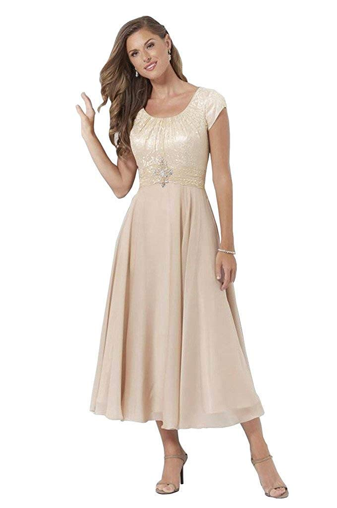 18a4756a34ef Fenghuavip Women's Mother of The Bride Dresses with Short Sleeves Tea Length  Size 14
