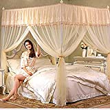 Pink four corner palace mosquito net bed canopy,Princess Double Home Encryption Thickening Three-door bracket Mosquito-curtain -yellow Queen1