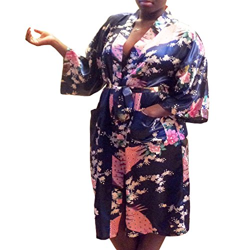 Gifts Are Blue Floral Satin Womens Plus Size Robes, Lightweight, Sizes 20-38, Knee Length (Navy Blue, (Satin Wrap Robe)