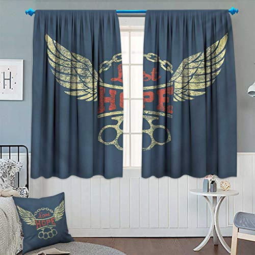 Chaneyhouse Vintage Window Curtain Fabric Grunge Label Wings Chain Brass Knuckles Last Hope Quote for Bikers Drapes for Living Room 72