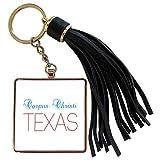 3dRose Alexis Design - American Cities Texas - Corpus Christi, Texas, red, blue text. Patriotic home town design - Tassel Key Chain (tkc_301525_1)