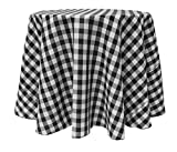 Ultimate Textile (15 Pack) 132-Inch Round Polyester Gingham Checkered Tablecloth - for Picnic, Outdoor or Indoor Party use, Black and White