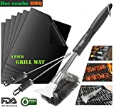 Grill Brush – grill scraper, Perfect Cleaner & Barbecue Tool & Scraper for Grill Cooking Grates BBQ Cleaner - Best BBQ Grill Mat ,Non-Stick Mats, Reusable - Bonus 2 Pack 12-in Barbecue Skewers Set.