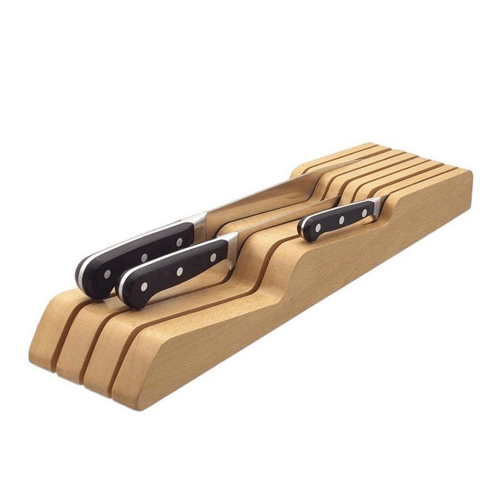BESTONZON - Cortador de cuchillos de bambú con cajón, organizador de almacenamiento