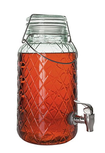 1-gallon Glass beverage dispenser with locking clamp lid and acrylic spigot, Zeesline Home & Party Round Drink Jug Tabletop Centerpiece (Small Drink Pitcher compare prices)