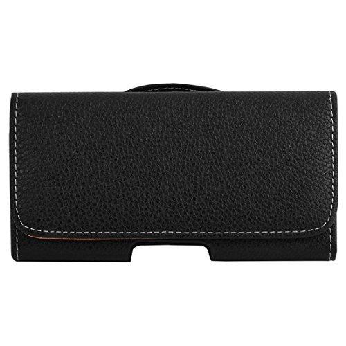 DealMux imitación de cuero correa de cierre magnético Clip de lazo bolsa del caso para el iPhone Negro 7 Plus