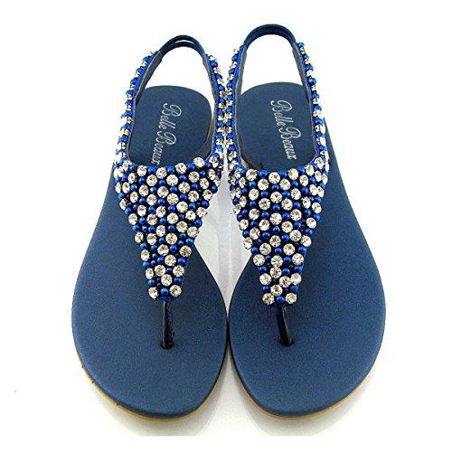 Sandalia de Dedo Plana con Diamantes y Perlas para Vacaciones Fiesta o Vestir Tallas ES 36-41 Armada