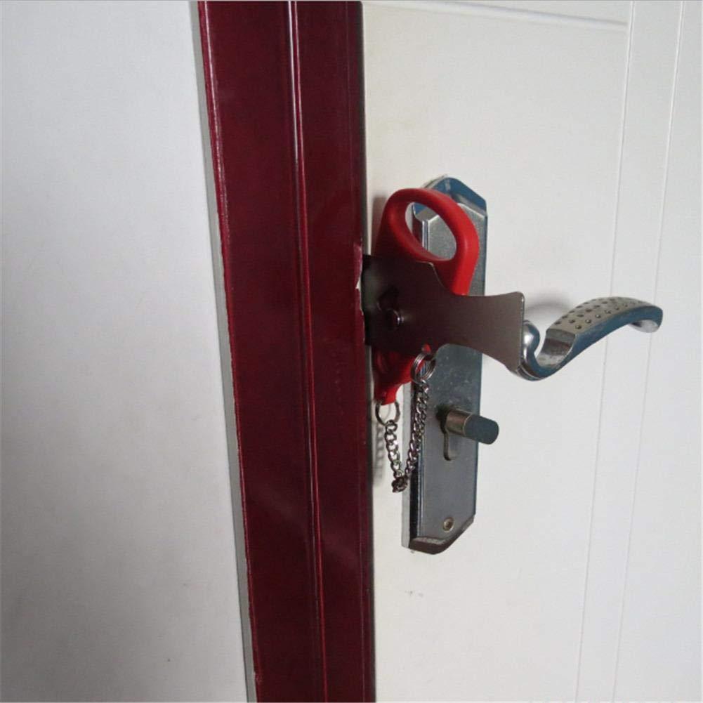 2 Pi/èces Serrure de Porte Portable Serrure de Voyage Verrouillage de l/École Pour la S/écurit/é de Maison Appartement H/ôtel Motel Noir