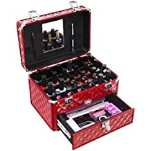 SONGMICS 24 Compartments Nail Polish ( not included ) Organizer Makeup Train Case with Mirror Portable Cosmetic Storage Holder with 1 Drawer Red UMUC18R