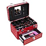 SONGMICS 24 Compartments Nail Polish ( not included ) Organizer Makeup Train Case with Mirror Portable Cosmetic Storage Holder with 1 Drawer Red UMUC18R For Sale