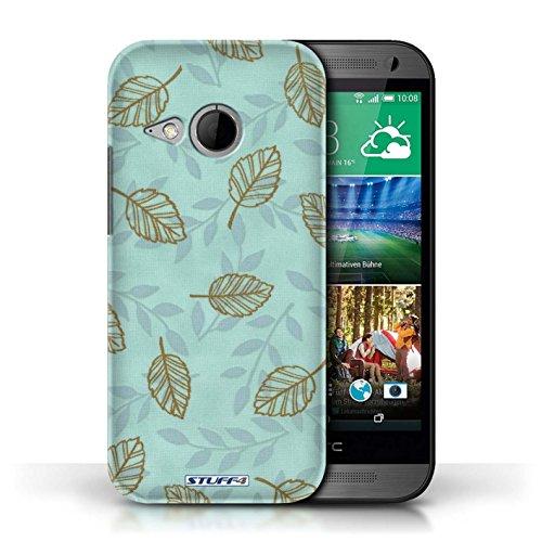 Etui / Coque pour HTC One/1 Mini 2 / Bleu/Marron conception / Collection de Motif Feuille/Branche