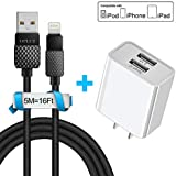 16FT/5M Charging Cable for iPhone, Eletrand 10.5W 2.1A Dual USB Ports Wall Charger Power Adapter Built in Smart IC + Phone Charger Cable, USB Wire Data Sync Charging Cord Compatible with iPhone X/8/7