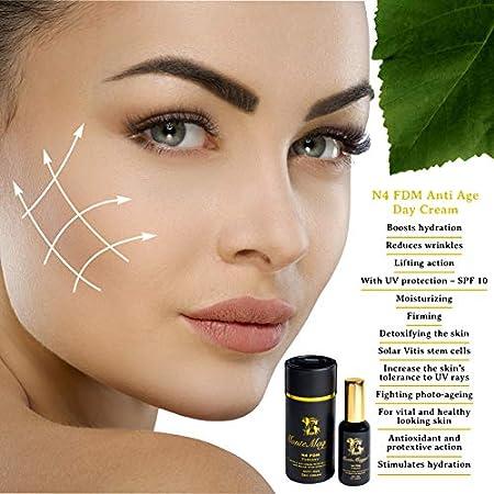Crema Facial Antiarrugas Para Mujeres con Ácido Glucurónico y Células Madre de Uva Roja (Solar Vitis) - Hidratante e Iluminadora - Antienvejecimiento - 100% natural - Made in Italy - N4 FDM - 50ml