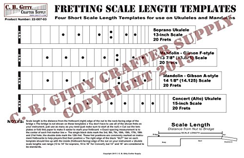 Ukulele and Mandolin Fretting Scale Length Template for sale  Delivered anywhere in USA